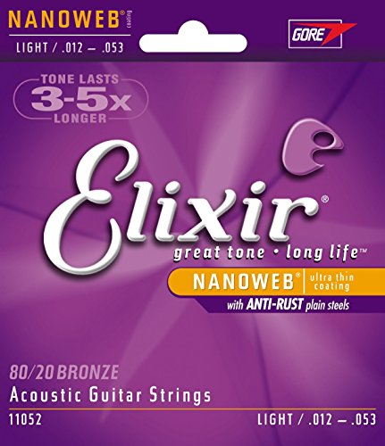 Elixir Strings 80/20 Bronze Acoustic Guitar Strings w NANOWEB Coating, Light (.012-.053) (Electric Guitar Acoustic)