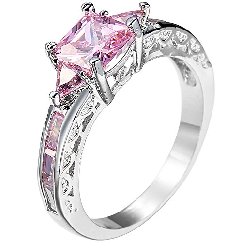 Women Platinum Plated Square Triangle Pink Cubic Zirconia CZ Hollow Openwork Crystal Ring for Lady Girl 9