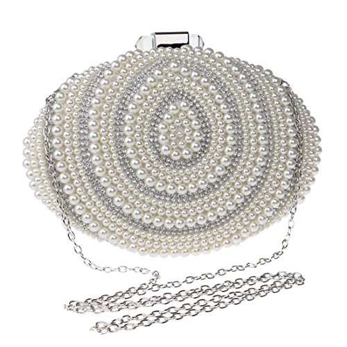YOUTO Evening Party Clutch Bags Women's Beaded Evening Bag Pearl Clutch Purse Handbag Crossbody Bag (Color : Silver) ()