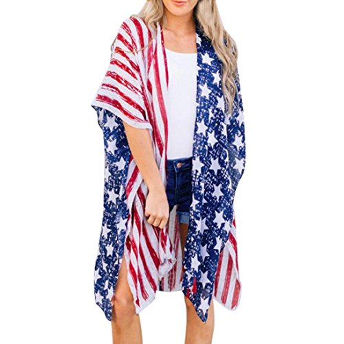 (Women American Flag Cardigan Coats,Hemlock Star Flag Print Loose Shawl Kimono Beach Swimsuits Cover up Tops (L, Blue))