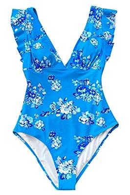 CUPSHE Women's Royal Elegance V Neck Falbala Shoulders One Piece Swimsuit