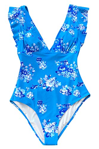 CUPSHE Women's Royal Elegance V Neck Falbala Shoulders One Piece Swimsuit Small - Piece Womens One Royal