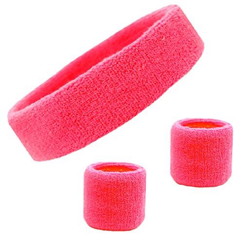 Kenz Laurenz Sweatband Set Cotton Sports Headband Terry Cloth Wristband Moisture Wicking Sweat Absorbing Head Band Athletic Exercise Basketball Wrist Sweatbands and Headbands (Pink) -