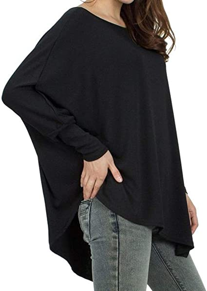 Oversize Top Manga Larga Mujer Casual Cuello Redondo Manga Murcielago Asimétrica Flojos Camiseta Jersey Camisa Mujer Blusa Tops: Amazon.es: Ropa y accesorios