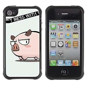 Pulsar Defender Series Tpu silicona Carcasa Funda Case para Apple iPhone 4 / iPhone 4S , Cute Don't Mess Pig