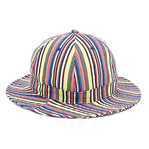 Q&Y YQ Women's Pinstriped Bucket Hats Floppy Caps Size M Multi-Color