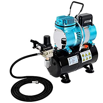Image of Airbrush Materials Master Airbrush 1/5 HP Cool Runner II Dual Fan Tank Air Compressor Kit Model TC-326T - Professional Single-Piston with 2 Cooling Fans, Runs Longer Without Overheating - Regulator Water Trap, Holder