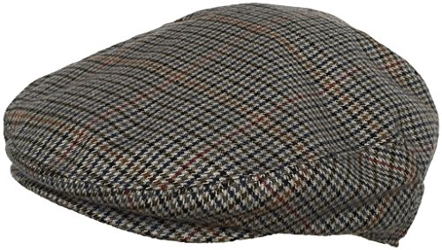 Wool Blend Plaid Hounds Tooth Ivy Cap (Grey/X-Large)
