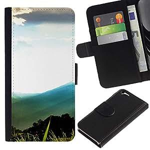 NEECELL GIFT forCITY // Billetera de cuero Caso Cubierta de protección Carcasa / Leather Wallet Case for Apple Iphone 6 // Montaña Forrest Paisaje