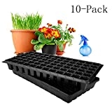 BloomGrow Hydroponics Plant Tray Kit 72-Cell Seed Planting Insert Plug Tray + Plastic Plant Growing Tray Nursery Trays for Seed Germination (72-Cell Tray+Plastic Plant Tray(10-Pack))