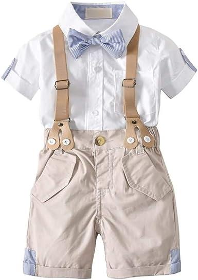 Conjunto de Traje de Bebé, Camisa de Manga Corta con Pajarita + Shorts de Tirantes, para Bautizo Nupcial Fiesta #101: Amazon.es: Ropa y accesorios
