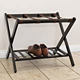 Best Choice Products 110lb Capacity Wood Folding Luggage Travel Bag Rack for Home, Closet, Bedroom, Guestroom, Hotel w/Shelf, Nylon Straps - Brown