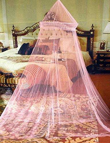 Tingxuan Girl Princess Round Lace Mosquito Net Indoor Insect Bed Canopy Mesh Curtain Romantic Dream (Pink)