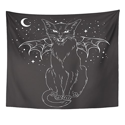 TOMPOP Tapestry Creepy Black Cat Monster Wings Over Night Sky Moon Home Decor Wall Hanging for Living Room Bedroom Dorm 50x60 Inches]()