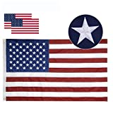 Losong American Flag 3x5 ft- Made in USA, Heavyweight Fade Resistant Tough Durable 210D Nylon US Flag, Embroidered Stars Sewn Stripes Brass Grommets Vibrant Color Outdoor Indoor Premium USA Flag (Color: Red White and Blue, Tamaño: 3x5 ft)