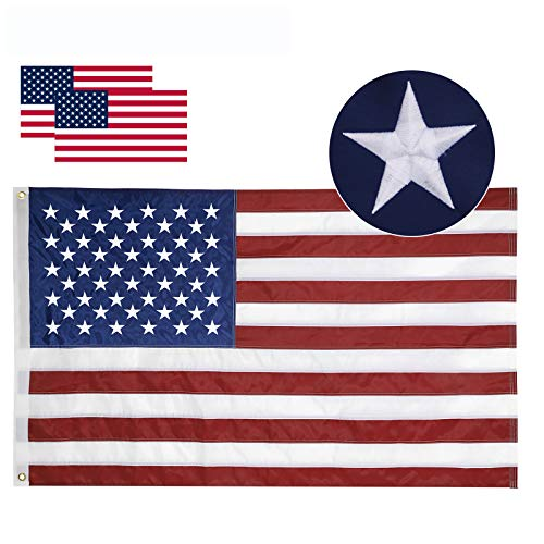 Losong American Flag 3x5 ft- Made in USA, Heavyweight Fade Resistant Tough Durable 210D Nylon US Flag, Embroidered Stars Sewn Stripes Brass Grommets Vibrant Color Outdoor Premium USA Flag