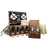The Chelsea 4 Person Luxury Wicker Picnic Basket Set Includes Accessories - Gift Ideas for Fathers Day, Mom, Birthday, Wedding Gifts, Anniversary, Business, Corporate, Family, Dad