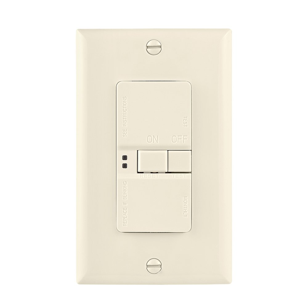 Eaton GFCI Self-Test 20A -125V Blank Face Receptacle with Standard Size Wallplate, Light Almond