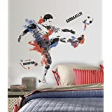 "Lunarland MENS SOCCER CHAMPION 38"" Wall Mural Decals Boys Player Room Decor Stickers Ball"