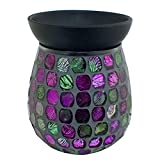Astin of London Electric Purple Mirror Mosaic Wax Tart Melt Burner Lamp Scented Aroma Warmer - Hand Crafted
