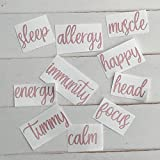 GLITTER ROSE GOLD SET OF 10 ROLLER BOTTLE LABELS ONLY FOR 10ML ROLL ON, AROMATHERAPY OILS, IMMUNITY, HEAD, FOCUS, ENERGY, CALM, HAPPY, TUMMY, SLEEP, ALLERGY, MUSCLE