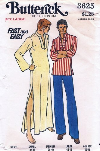 Butterick 3625 Men's Pullover Caftan and Top, Nightshirt, Pattern Vintage (70s Pullover)
