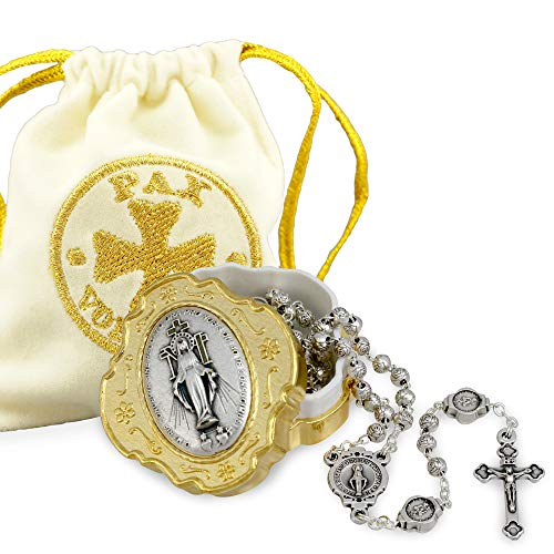 (Miraculous Metal Rosary Set with Rosebud Beads with Gold Box)