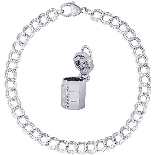Links Porcelain Vase - Rembrandt Charms Sterling Silver Pottery Kiln Charm on a Double Link Bracelet, 8