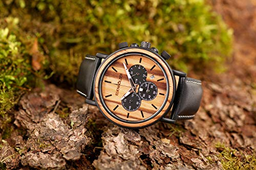 Edenträträ trä klocka herr armbandsur träarmbandsur kronograf Hardlex Antigua datumvisning