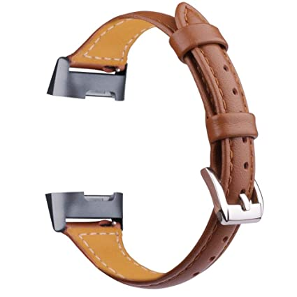 Oitom Slim Leather Bands Compatible Fitbit Charge 3 /Charge 3 SE Band Women  Men Small Large,Slim Fashion Design Premium Leather Replacement Band Wrist