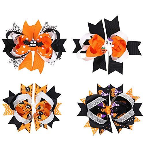 Halloween Hair Clips (4 pack) Barrette Ribbon Bow Hairpins Pumpkin Bat Ghost Hair Styling for Children Hairpin Headdress Accessories (style 1(4 -