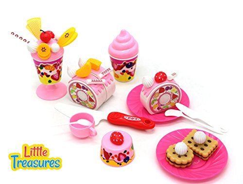 Pretend Play Party Cake Desert Set for kids 3+ a charming play set comprising of trifle, cake pastry pieces, biscuits and ice cream along with decoration toppings, serving plates, spoon & knife
