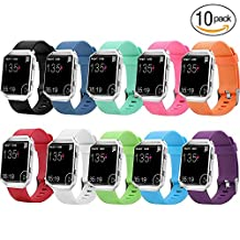 Auskic Fitbit Blaze Band, 10 Pack Silicone Accessories Replacement Wristband Small Large Bracelet Sport Strap for Fitbit Blaze Smart Fitness Watch (No Tracker, No Frame)