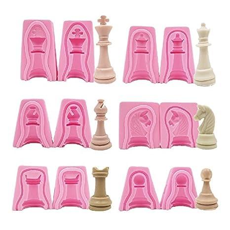 Set de 12 moldes de silicona en forma de piezas de ajedrez: Amazon.es: Hogar