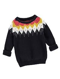 Unisex Baby Knit Pullover Sweater Kids Cotton O-Neck Long Sleeve Sweatshirt 1-6T