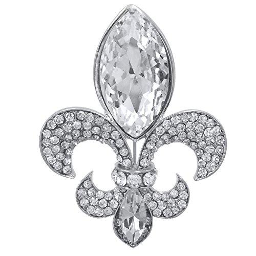 Large Fleur De Lis Rhinestone Big Bling Pin Brooch (Large Clear Silver (Large Crystal Fleur De Lis)