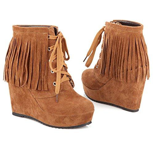 RAZAMAZA Women Boots Lace Up Yellow 0qoV9