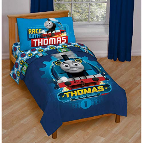 N&T 4 Piece Blue Thomas Toddler Bedding, Yellow Train Toddler Comforter Set Train Engine Thomas and Friends Toddler Set Railway Engine Graphic Design Red Multi Colored Vibrant Rich Colors, Polyester