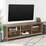 Walker Edison Minimal Farmhouse Wood Universal Stand for TV's up to 80' Flat Screen Living Room Storage Shelves Entertainment Center, 70 Inch, Reclaimed Barnwood Brown