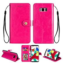 Ostop Samsung Galaxy S8 Leather Wallet Case,Magenta Classic Oil Wax PU Stand Purse Credit Card Slots Holder Flip Stylish Simple Cover Retro Metal Clasp Samsung Galaxy S8
