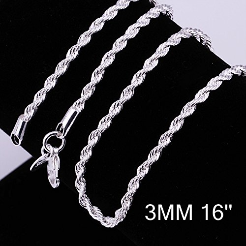 Zhiwen Fashion 925 Sterling Silver 3MM Distort Rope Chain Snake Thin Chain Necklace Chain for Women Men (16-24 in) (inch ()