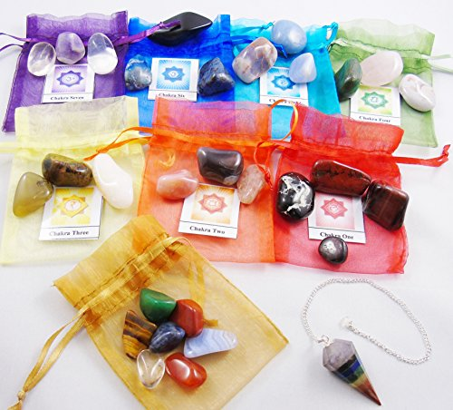 29 Chakra Healing Balancing Tumbled Stones Kit Including Pendulum for Collectors, Crystal & Reiki Healers and Yoga Practioner - Now with Girasol Opa