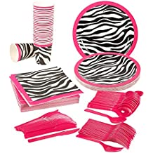 Disposable Dinnerware Set - Serves 24 - Pink Zebra Party Supplies - Includes Plastic Knives, Spoons, Forks, Paper Plates, Napkins, Cups, Pink, Black, White