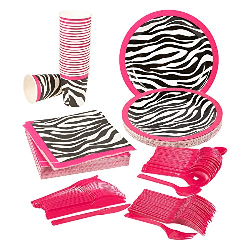 Pink Zebra Party Supplies – Serves 24 – Includes Plates, Knives, Spoons, Forks, Cups and Napkins. Perfect Zebra Birthday Party Pack for Girls Zebra Pattern Themed Parties. -