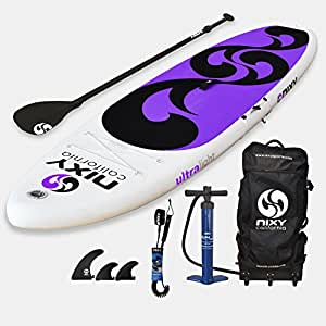 "NIXY Inflatable Stand Up Paddle Board Package. Ultra Light 10'6"" Venice Purple & White Paddle Board Built with MSL Fusion Technology and 2 YR Warranty"