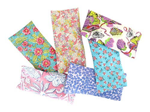 - Peacegoods Aromatherapy Yoga Eye Pillow - Pack of (6) - 4.5 x 9 - Organic Lavender Chamomile Flax - Washable Cover Cotton - bulk - purple green pink blue flowers leaves butterflies