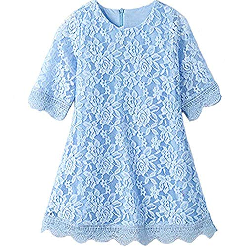 Lace Flower Girl Dress Elegant Bridesmaid Dress Wedding Party Fall Holiday Pageant Girl Dress Formal Ball Gowns Long Sleeve Knee Length Christmas Easter Flower (Sky Blue 190) -