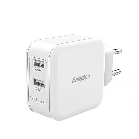 EasyAcc Cargador de Pared con 2 Puertos USB 5V 2.4A x 2 USB Adaptador de Corriente 24W Carga Rápida Enchufe Europeo Blanco