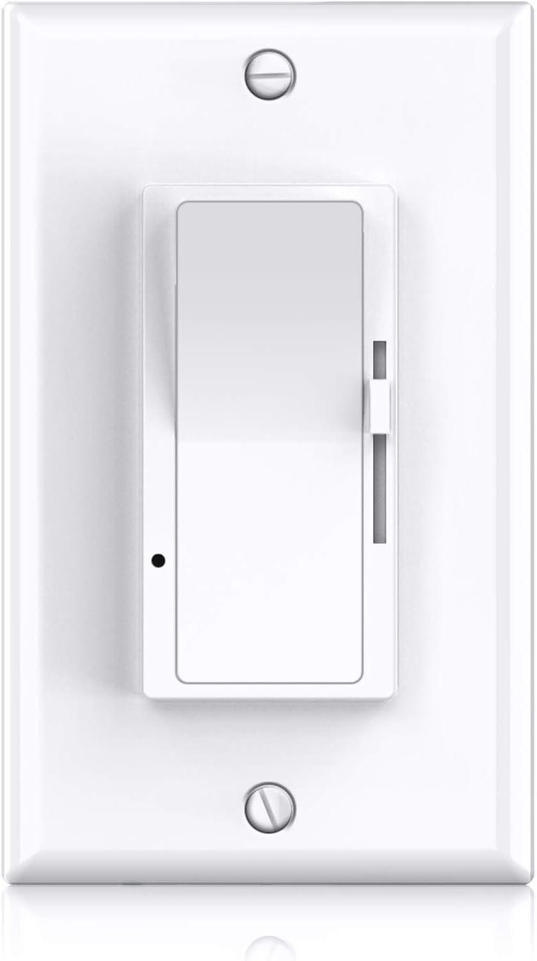 LED Dimmer Switch, Allsmartlife Single Pole/ 3-Way 0-10V LED Dimmer for 2x2/ 2x4 LED Flat Panel Light, ETL Listed, Wall Plate Included, White 1-Pack