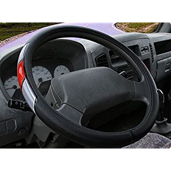 Red and Silver line Black Sport Leather Modern Steering Wheel Cover Style Anti-Slip 16